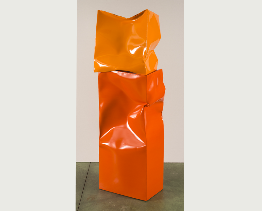 01_Ángela de la Cruz_Standing up Box Large with Small Box (Orange)_2015